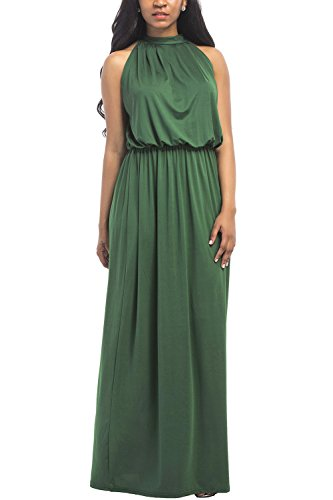 WIWIQS Women's Solid Halter Plus Size Evening Party Maxi Dress,Green,XL