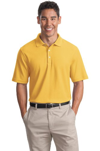 (Cotton Pique Knit Sport Shirt, Color: Maize Yellow, Size: Large)