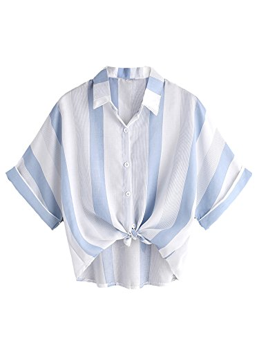 MakeMeChic Women's Striped Crop Tops Knot Front Casual Blouse White Medium