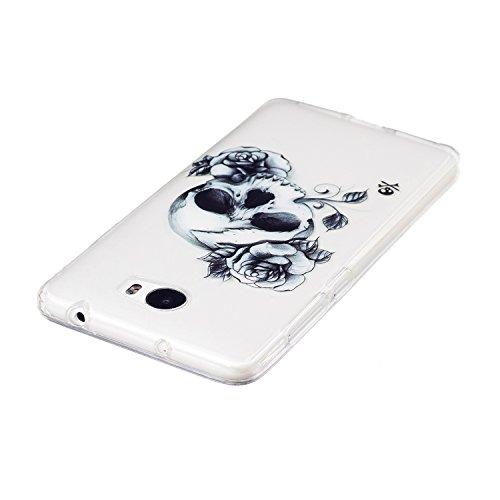Funda Huawei Y5 II,SainCat Moda Alta Calidad suave de Ultra Delgado de TPU Silicona Transparente Funda Carcasa Caso Parachoques Diseño pintado Patrón para Carcasas TPU Silicona Ultra Delgado Ligero Go Cráneo