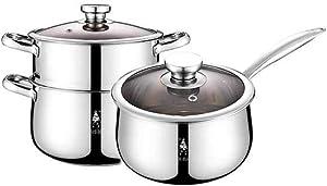 WEIBAO 2 Quart 3 Quart Pasta Pot Cooker Steamer Multipots, Stainless Steel, Cookware Pots and Pans Set