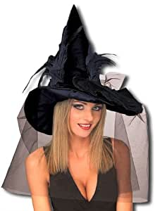 sombrero de bruja con plumas negras