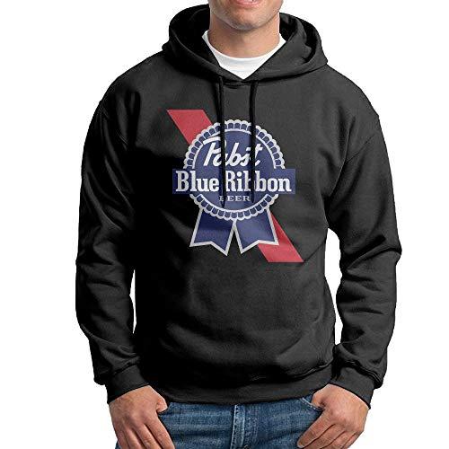 KLA2000 Men's Hoodies Pabst Blue Ribbon Beer Logo Casual Hooded Drawstring -