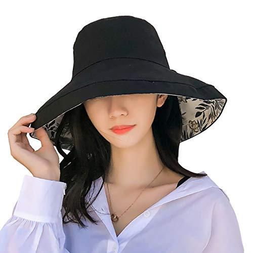 FaroDor Women Print Floral Reversible Bucket Hat UV Sun Protection Wide Brim Summer Beach Cap ()