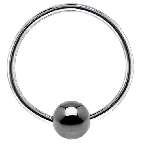 (Fifth Cue Hematite Plated Captive Bead Ring 316L Surgical Surgical Steel (18GA (1mm) | 1/4