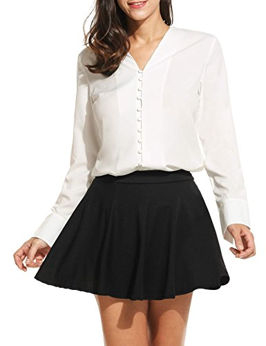 ANGVNS Womens Office V neck Tie bow