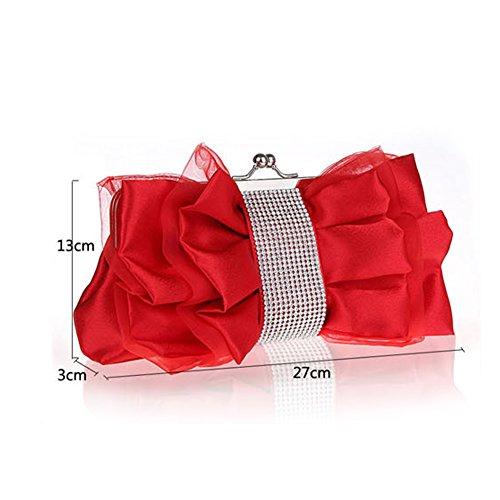 Flada niña de flores de seda noche embrague mariposa nudo rhinestones bolso de la boda de color albaricoque Rojo
