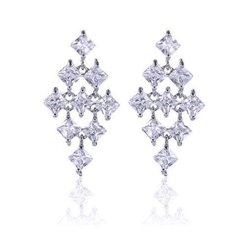(CZ Chandelier Earrings for Women - 14k White Gold Plated Sterling Silver Rhombus Shape Square Cubic Zirconia Crystal Rhinestone Link Drop Dangle Earrings for Wedding Party Prom Bride Bridesmaids Gift)
