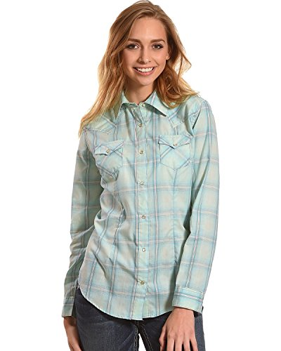 Tonal Plaid Shirt (Wrangler Women's Tonal Plaid Long Sleeve Western Snap Shirt Teal XX-Large)