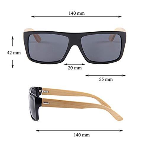 Lentes Azul conducción del Gafas polarizadas de de de sol Brazo la Las con bambú de Oscuro vidrios Ultravioleta Gafas Marron bambú Color Color del Retros protección Cuadrado OxnzqR5zF