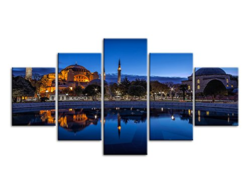 Modern Wall Art Painting for Living Room Prints Blue Night Sultan Ahmed Mosque Istanbul Pictures on Canvas Home Decor Gift Stretched and Framed Ready to Hang (60''W x - Ahmed Mosque Sultan