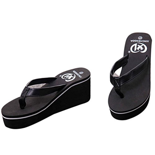 Thong Platform Shoes - Gotd Women Slim Strap Flip Flop Bohemian Muffin Slope Wedge Heels Sandals Slide Platform Thongs Slipper Clip Toe Soft Girl Indoor Outdoor Beach Shoes (US:6, Black)
