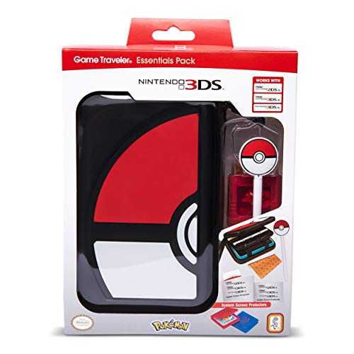 RDS Industries, Nintendo 3DS Game Traveler Essentials Pack - Black Pokeball (Pokeball Ds Game Case)