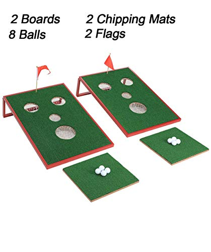 SPRAWL Golf Cornhole Set with Chipping Mats - Chipping Golf Game - Outdoor/Indoor Sport Game for Backyard, Beach,Office ()