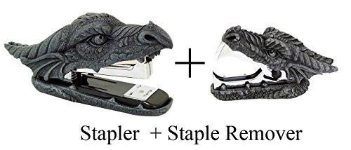 Novelty Guardian Dragon Stapler and Stapler Remover Office Desktop Stationery Set (Dragon Desk Set)
