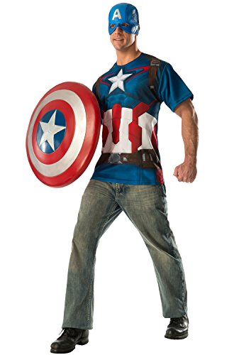 Rubie's Costume Co Men's Avengers 2 Age Of Ultron Adult Captain America T-Shirt and Mask, Multi,