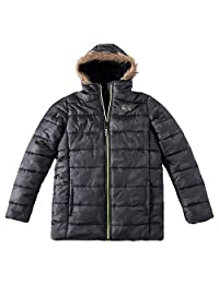 SNOW DREAMS Big Boys Print Puffer Jacket Zipper Quilted Lined Hood Active Outerwear