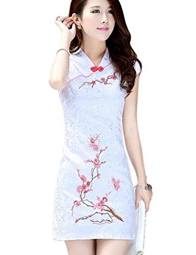Womens Chinese Silk Cheongsam Dress - 4