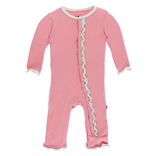 Kickee Pants Little Girls Solid Muffin Ruffle Coverall With Snaps - Strawberry With Pistachio, 6-9 Months ()