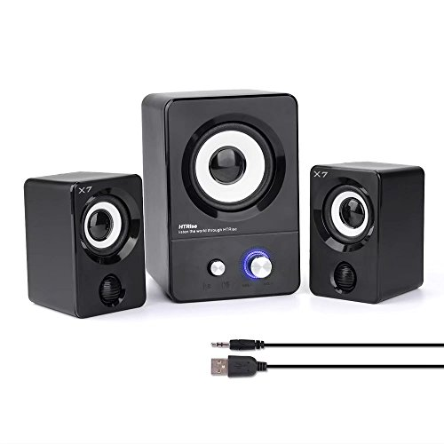 HTRise USB Powered Computer Speakers System (X7 Black) for Gaming/Music/Movies, Active Multimedia Stereo Sound for Laptop/Desktop/Lenovo/HP/ThinkPad/IBM/DELL/SONY/MACFEE/SAMSUNG/ACER/Microsoft/PC 3 Piece Desktop Speaker System