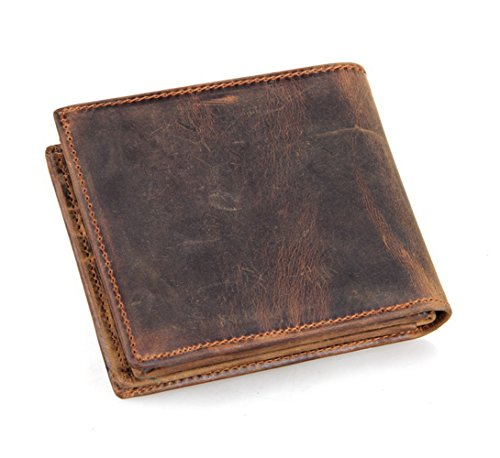 HRS Genuine Leather Wallet Bifold Distressed Wallets for Men Italian Wallet Handmade with RFID Blocking (brown) by HRS (Image #1)