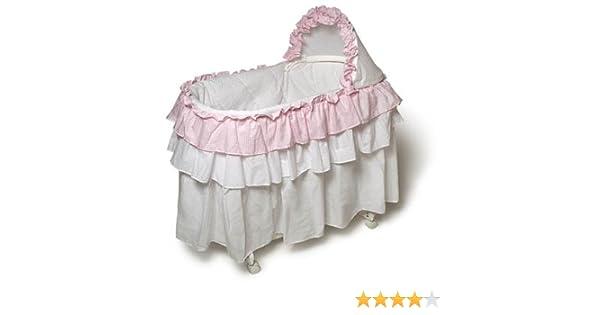 Burlington Baby Bassinet With Full Length Skirt Pink White