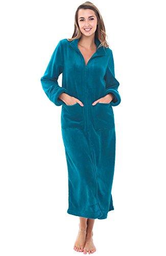 Alexander Del Rossa Womens Fleece Robe, Zip-Front Bathrobe, Large Ocean Depth (A0307ODPLG)