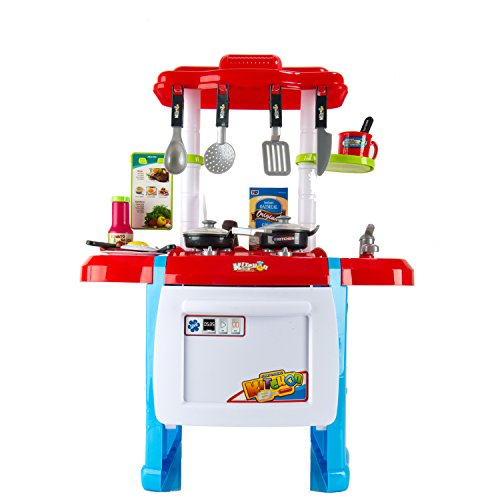 Red kids children fun home kitchen play set cooking play for Kitchen set in amazon