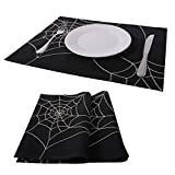 PHANTOSCOPE Decorative Set of 2 Cobweb Spider Halloween Placemat for Kitchen 13'' x 18'' 33 x 45 cm