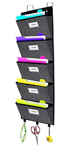Over The Door File Organizer,Wall Mount Hanging File Folder Holder Magazine Storage Bag for Document,Notebooks,Planners,Mails,5 Large Pockets Black Grid