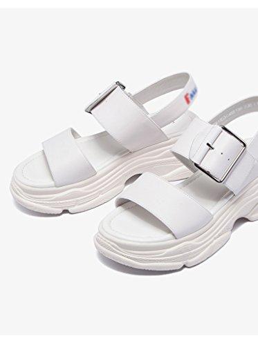 Sandals ZCJB Muffin Thick Woman Summer Fashion Wild Word Buckle Open Toe Sports White dAWSxIQX0