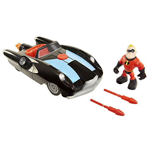 The Incredibles 2 Incredibile Car & Mr. Incredible Action Figure 2-Piece Set, Black Car and Red Mr. Incredible Figure, Medium