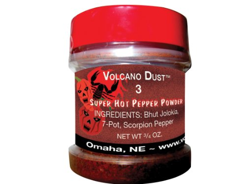 Volcano Dust 3 - Smoked Bhut Jolokia (Ghost), 7 Pot and Scorpion Pepper Powder - Super Hot by Volcanic Peppers