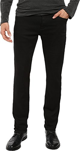 John Varvatos Men's Bowery Fit Jean, V Stitch Pocket Zip Fly, Low Rise, Slim Straight Leg in Black, 28