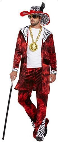 Mens Red Big Daddy Pimp Gangster 1920s Fancy Dress Costume Outfit (STD) ()