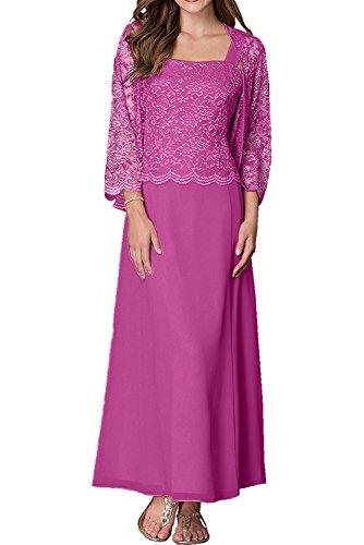 Damen Pink Jaket Charmant Mit Langarm traeger Partykleider Gruen Abendkleider Spitze Zwei Brautmutterkleider OP1dqwP