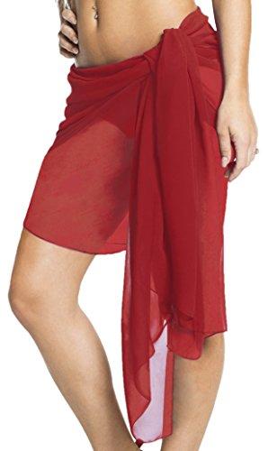 Strandtuch Tuch Wickeltuch Handtuch Schließe Strandkleidung 8 Modelle Sarong Pareo Wickelrock Badeanzug rot