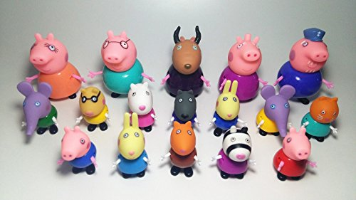 17pcs/Lot Peppa Pig Grandpa Grandma Family & Friends Cartoon Figure Toy 2016 New (Halloween Horse Show Names)
