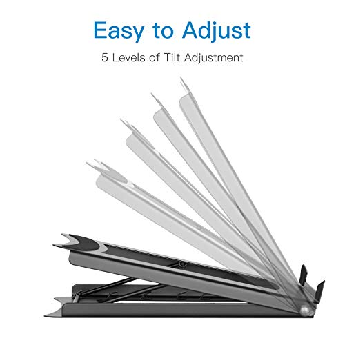 Laptop Stand - Height Adjustable Tablet Stand with 5 Tilt Levels & Anti-Slip Pads for Laptops, Computers, MacBook, Laptop Riser with Open Back for Ventilation Prevents Overheating by HUANUO (Image #2)
