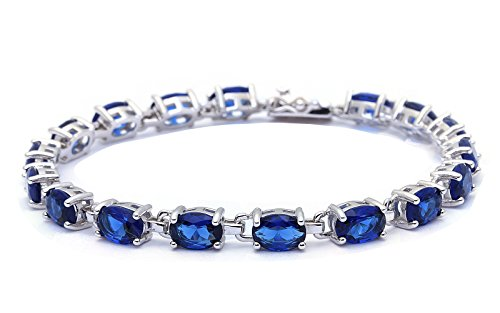 13.5CT Oval Cut Simulated Blue Sapphire .925 Sterling Silver Bracelet (Sapphire Diamond Blue Bracelet)