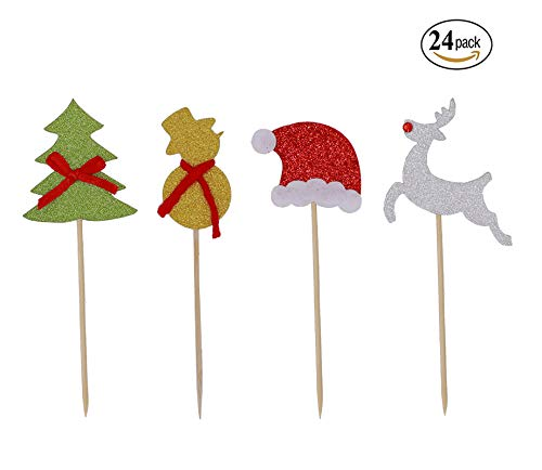 24 Pack Christmas Cupcake Toppers Christmas Tree Christmas Hat Snowman Reindeer Cake Toppers Food Picks Decoration for Xmas New Year Party Favors by Ucity ()