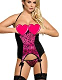 MarysGift Women Ladies Suspender Belt Teddy Bodysuit Sexy Lingerie Sets Leotard Teddies Pole Dance Plus Size UK 6 8 10 12 14 16 18 20