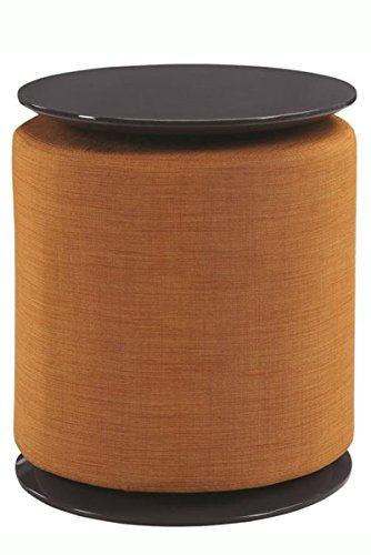 (Scott Living Accent Table with Ottoman in High Gloss Grey with Orange Upholstery )
