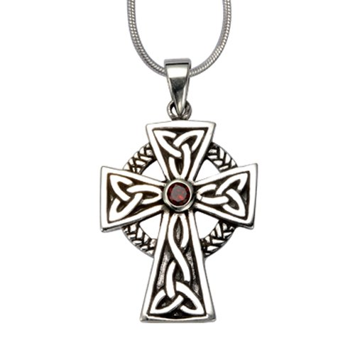 925 Sterling Silver Celtic Irish Cross Red Garnet Stone Pendant on Alloy Necklace Chain, 18 (Red Celtic Cross)