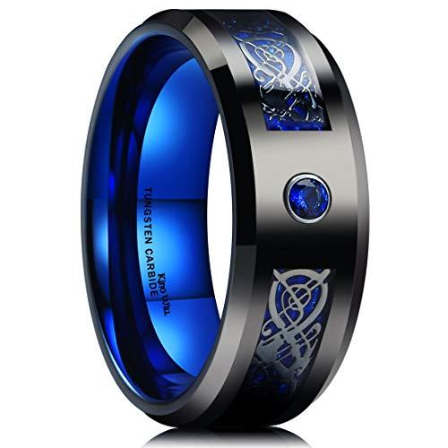 King Will Dragon 8mm Mens Celtic & Blue Cubic Zircon Inlay Black Tungsten Carbide Wedding Ring Comfort Fit(7.5) ()