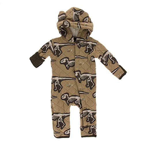 (KicKee Pants Print Quilted Hoodie Coverall with Sherpa-Lined Hood (3-6 Months, Tannin T-Rex Dig with Petrified Wood))