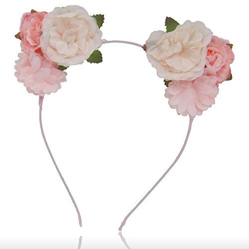 Summer Spring Floral Cat Ears Headband with Peach & Pink Colored Flowers for Women and Girls