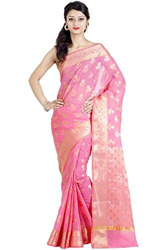Chandrakala Women's Cotton Silk Banarasi Saree (Pink-2) (White Silk Saree)