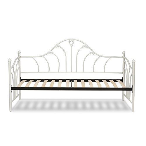 Emma Complete Metal Daybed with Curved Spindles and Euro Top Deck, Antique White Finish, Twin Antique White Metal Bed