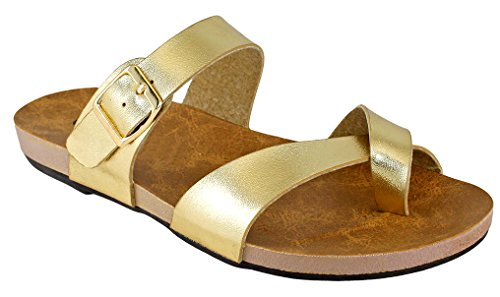 Cambridge Select Womens Strappy Cross Over Buckle Toe Ring Flat Slide Sandal Gold 2Ncrzgif